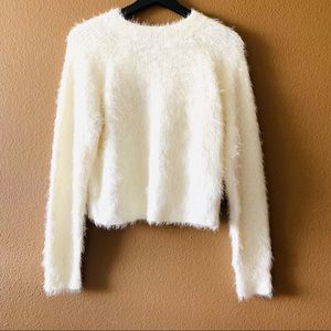 Fuzzy Cropped Mockneck Sweater